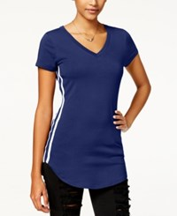 Almost Famous Juniors' Sporty Side Stripe Tunic T Shirt Navy White