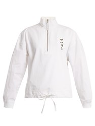 Mhi Tiger Embroidery Cotton Track Top White