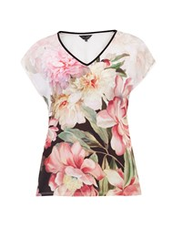 Ted Baker Ilenia Painted Posie Woven T Shirt Pastel Pink