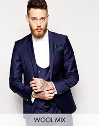 Noose And Monkey Suit Jacket With Shawl Lapel In Skinny Fit Navy