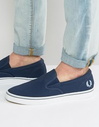 Fred Perry Underspin Slipon Canvas Trainers Navy