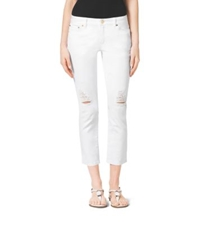 Michael Kors Distressed Cropped Jeans White