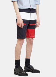 Thom Browne Painted Canvas Striped Shorts Navy