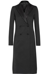The Row Robeska Silk Trimmed Wool Blend Coat Black