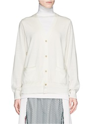 Toga Archives Turtleneck Insert Wool Silk Knit Cardigan Neutral