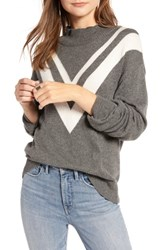 Treasure And Bond Contrast V Stripe Funnel Neck Sweater Grey Dk Heather Ivory Combo