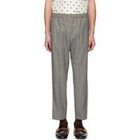 Gucci Black And White Wool Flannel Trousers