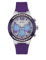 Guess Showstopper Stainless Steel Resin Strap Analog Watch Purple