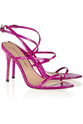 Jean Michel Cazabat Omayra Holographic Snake Effect Leather Sandals