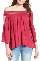 Sun And Shadow Women's Off The Shoulder Top Pink Vivacious