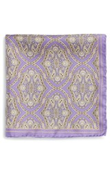 Men's Robert Talbott Medallion Silk Pocket Square Purple Lilac