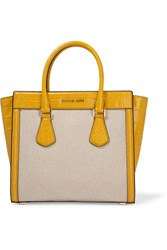 Michael Michael Kors Colette Large Croc Effect Leather And Canvas Tote Yellow