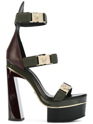 Versace Medusa Strap Sandals Leather Polyester Rubber Green