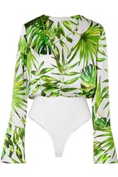 Caroline Constas Daria Printed Silk Satin And Stretch Jersey Bodysuit Green