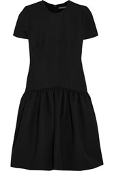 Alexander Mcqueen Drop Waist Wool Blend Scuba Dress Black