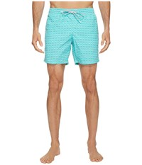 Lacoste All Over Print Swim Medium Length Bermuda White Men's Swimwear Blue