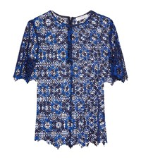 Sandro Dolce Embroidered Sheer Top Female Blue