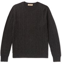 Burberry Cable Knit Melange Cashmere Sweater Gray