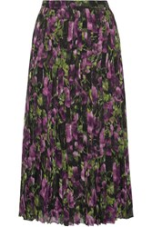 Prada Pleated Printed Silk Voile Midi Skirt Purple