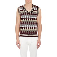Gucci Men's Fish Scale Pattern Wool Blend Sweater Vest Burgundy