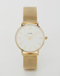Cluse Minuit Cl30010 Mesh Strap Watch In Gold