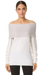 Maiyet Cashmere Exposed Shoulder Sweater Ivory Light Grey