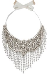 Etro Crystal And Grosgrain Necklace Silver