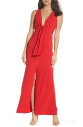 Harlyn Plunge Neck Tie Front Maxi Dress Red