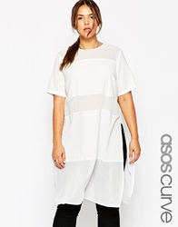 Asos Curve Sheer And Solid Maxi T Shirt Ivory