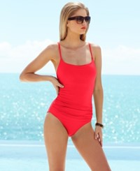 Anne Cole Classic Ruched One Piece Swimsuit Women's Swimsuit Watermelon