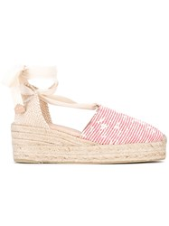 Castaner Campina Espadrilles Women Cotton Leather Rubber 38 Red