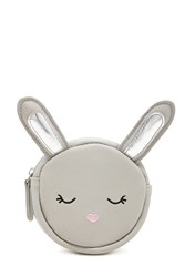 Forever 21 Bunny Faux Leather Coin Purse Grey Multi