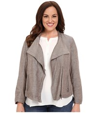 Nic Zoe Plus Size Sundown Moto Jacket Mushroom Mix Women's Coat Silver