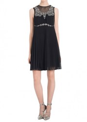 Leon Max Pleated Chiffon Embellished Cocktail Dress