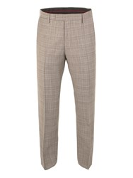 Gibson Check Tailored Fit Trousers Taupe