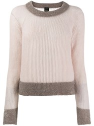 Pinko Cropped Knitted Sweater Neutrals