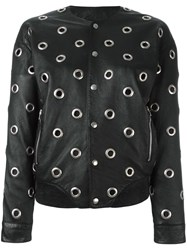 Saint Laurent Eyelet Teddy Jacket Black
