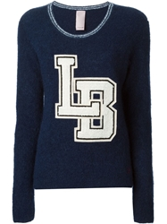 People Embroidered Patches Sweater Blue