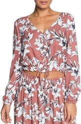 Roxy Morning Ritual Crop Blouse Withered Rose Lily House