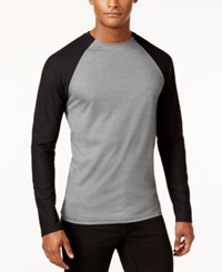 Vince Camuto Men's Mesh Raglan Sleeve T Shirt Grey Black