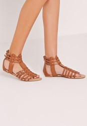 Missguided Strappy Flat Gladiator Sandals Tan