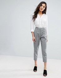 New Look Cropped Tailored Check Trousers Mid Grey