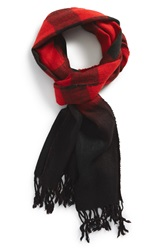 The Rail Buffalo Check Scarf Red Black