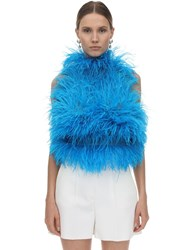 The Attico High Neck Feather Top Turquoise