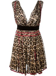 Dsquared2 Leopard Print Dress Nude And Neutrals