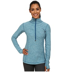 New Balance In Transit Half Zip Jacket Deep Water Heather Women's Long Sleeve Pullover Blue
