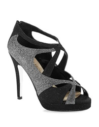 Elive From The Red Carpet Geraldine Glitter Stilettos Black Silver Flash