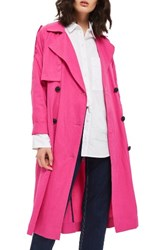 Topshop Women's Power Ballad Double Breasted Trench Coat Pink