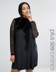 Club L Plus Velvet Swing Dress With Lace Sleeves Black