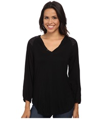 Sanctuary Wayward Boho Top Onyx Dried Lavender Women's Long Sleeve Pullover Black